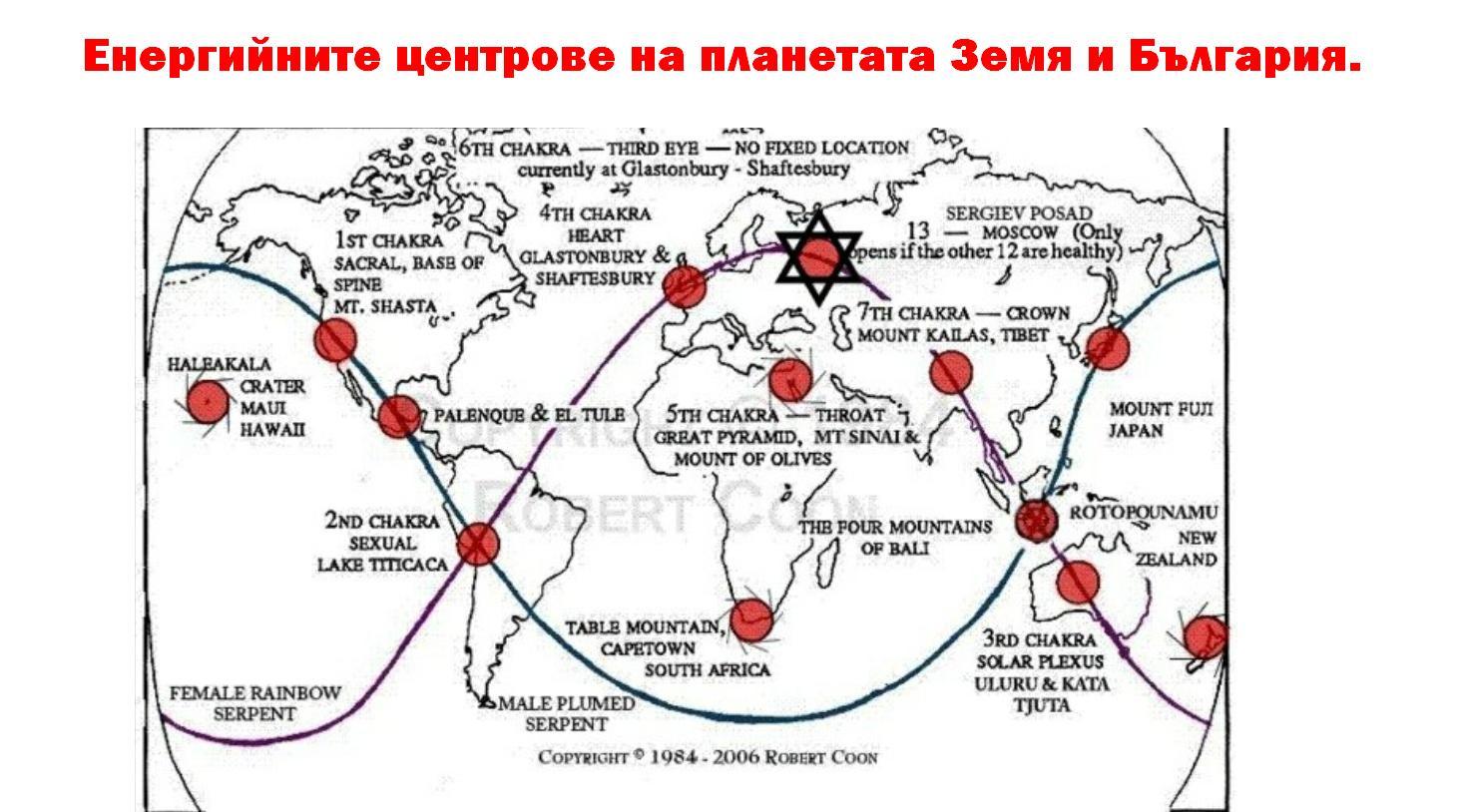 енергийните центрове на планетата Земя и България