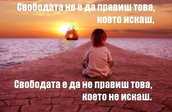 Свобода не е  да правиш това което искаш а да не правиш това което не искаш